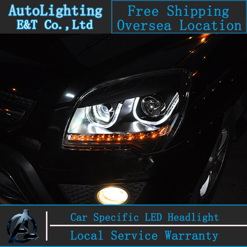 KIA Sportage Far montaj Sportage Için araba Styling led farlar 2007-2013 Angel eye led drl ile H7 hid kiti 2 adet.
