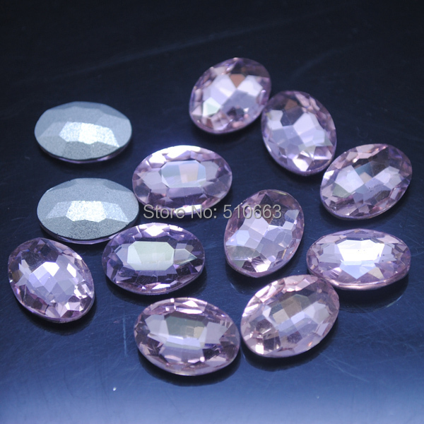 50 Pieces/Lot Glass Cabochon Glass Bead(back not flat surface) Oval Shape Pink Clothes Garment Accessories 13x18mm
